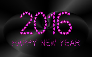 2016 Happy New Year made from pink hearts