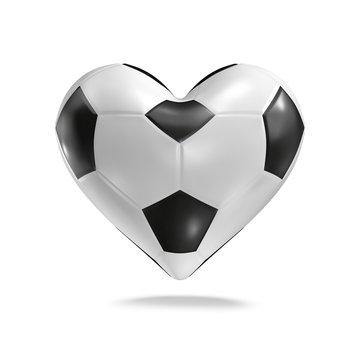 Soccer ball heart / 3D render of heart shaped soccer ball