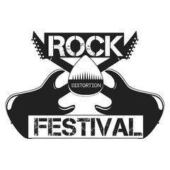Rock Festival label, emblem, vector logo with an electric guitar with mediator for differet projects: rock concerts and festivals, prints, invitations and cards.