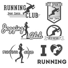 Running club vector labels and emblems for prints, projects, advertisments, invitations, cards.  Athletic silhouette, athlete run illustration