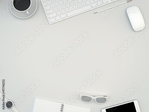 White Office Desk Table With Computer, Smartphone, Supplies And Coffee Cup.  Top View