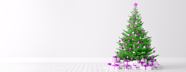 Interior of a white room with christmas tree background 3d rende