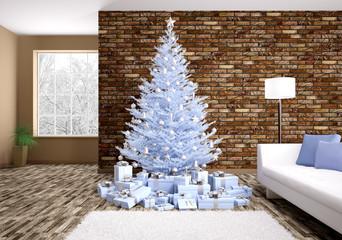 Modern christmas interior 3d rendering