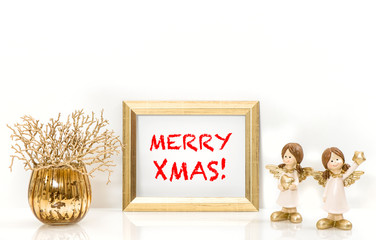 Golden frame and Christmas decorations Angels. Greeting card