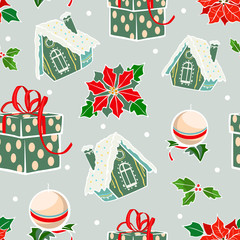 Vector Green Red Holiday Gingerbread Houses Candles Christmas Poinsettia Flowers Seamless Pattern. Prensents gift box holly berries decorations
