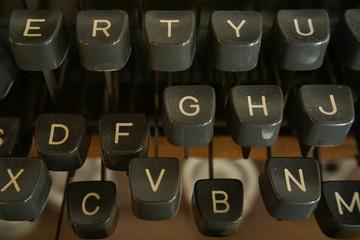 closeup keyboard of retro typewriter
