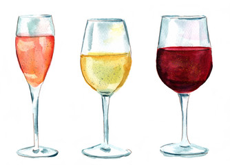 Set of watercolor wine glasses (rose, white, red), isolated
