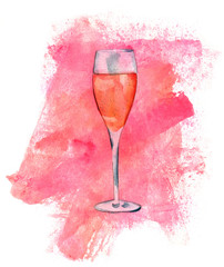 Watercolor flute glass of sparkling rose wine with texture