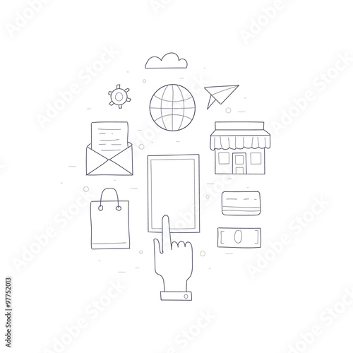 Doodle On Line Shopping E Commerce Sales Isolated Sketch Vector