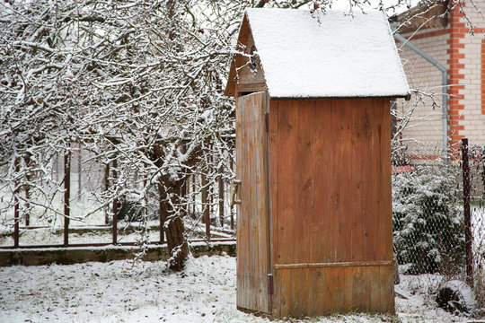 outdoor toilet in the country