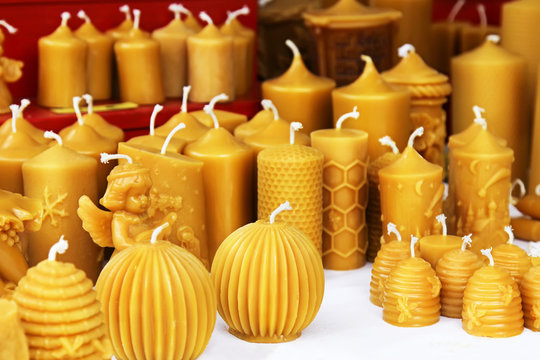 Beeswax candles on Christmas market