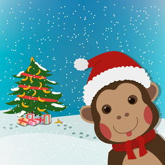 funny monkey, new year and  christmas greeting card, background, cartoon character illustration