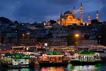 Suleymaniye Mosque at night in Eminonu, Istanbul, Turkey.