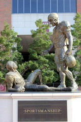 Statue indicating good sportsmanship in front of Doak Campbell Stadium in Tallahassee, Florida. Home of the Florida State Seminoles.