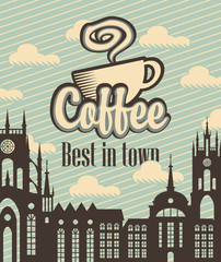 banner with a cup of coffee on a background of old city