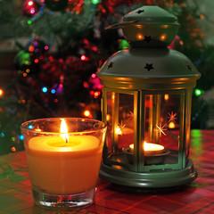 Lantern and burning Christmas lights