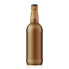 Glass Beer Brown Bottle On White Background Isolated. Ready For Your Design. Product Packing.