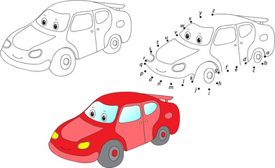 Cartoon car. Vector illustration. Coloring and dot to dot game f