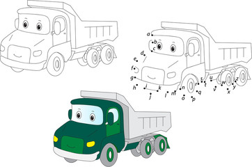Cartoon truck. Vector illustration. Coloring and dot to dot game