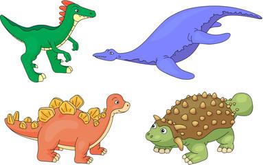 Set of pliosaur, stegosaurus, ankylosaurus and guanlong