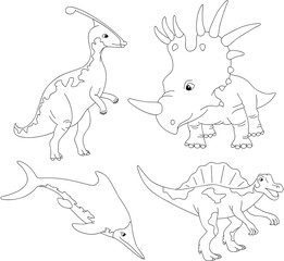 Set of palaeosaurus, styracosaurus, spinosaurus and ichthyosaur.