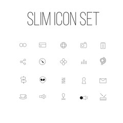 slim travel business icon set