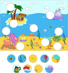 Underwater world and marine life: complete the puzzle and find t