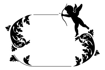 Silhouette frame with Cupid