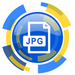 jpg file blue yellow glossy web icon