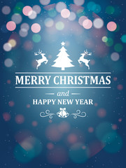Christmas Greetings Typography on Blue Background. Greeting Card and Poster Design.