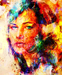 Young woman portrait, color painting on abstract background, computer collage. Eye contact.