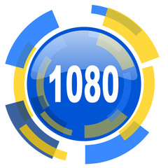 1080 blue yellow glossy web icon