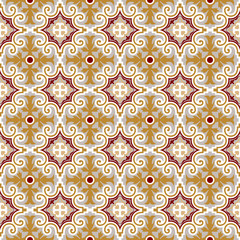 Seamless background image of vintage royal spiral kaleidoscope pattern.