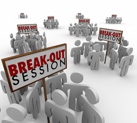 Break Out Sessions People Around Signs Small Group Meetings