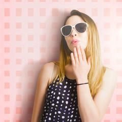 Surprise beauty girl on pink salon wall