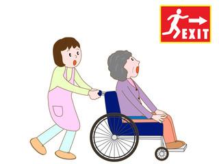 警報で避難する介護老人