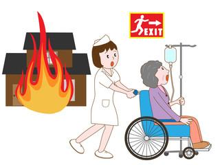 火災で避難する入院患者