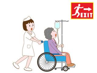 警報で避難する入院患者