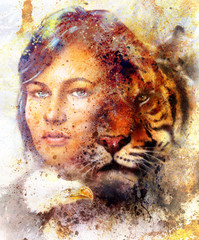 painting of a tiger and eagle head and woman goddess  portrait on colored abstract background, computer collage, vintage effect. Brown, orange, yellow, black and white color.