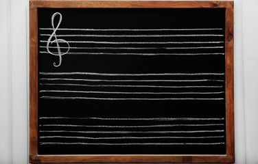 Lined blackboard for musical notes, close-up