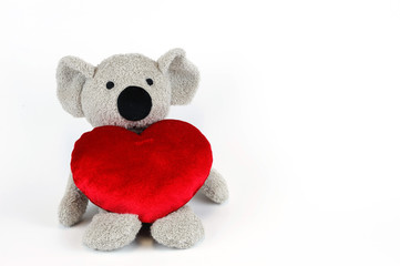 cute koala with red heart