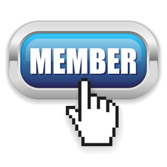 Blue member button with metal border and hand cursor