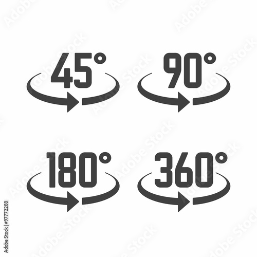 45 90 180 And 360 Degrees View Sign Icons Stock Image And Royalty