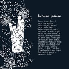 Element yoga apan Prithivi mudra hands with mehendi patterns.