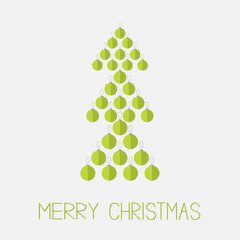 Christmas ball set in shape of green fir tree. Merry Christmas. White background. Isolated. Flat design style.
