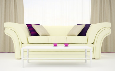 Part of the interior of the living room in white and purple colors. 3d illustration.