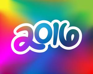 2016 - Happy New Year - handwritten vector art design