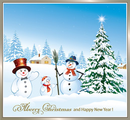 Happy New Year. Christmas tree and funny snowman on the background of a winter landscape