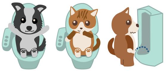 便座でトイレをする犬と猫