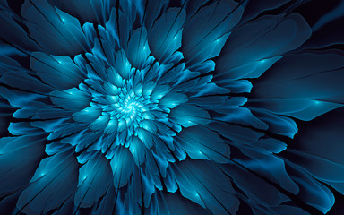 Abstract fractal background, glossy blue spiral with glowing core